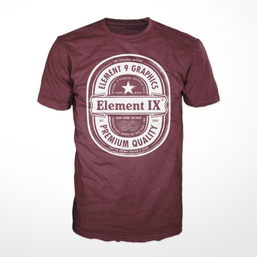 E9G Beer Label Tshirt Burgundy