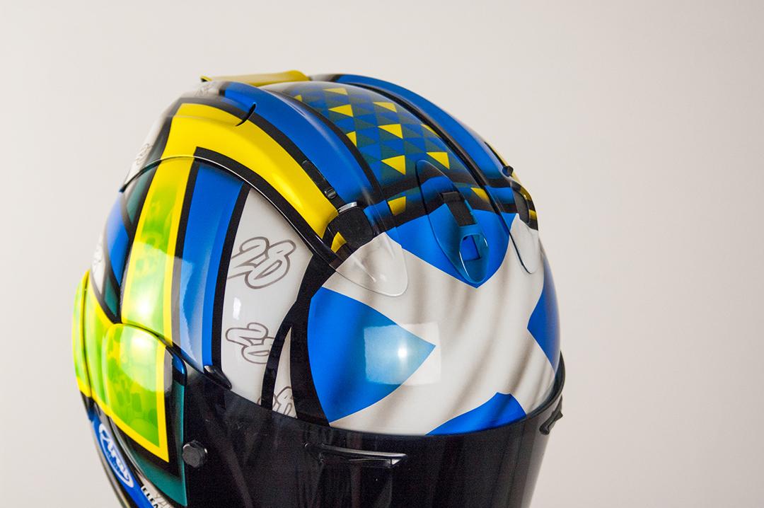 Euan Meston Custom Painted Arai RX7 airbrushed flag