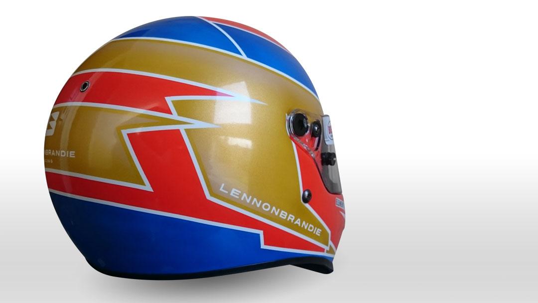 Lennon Brandie's custom painted Bell KC3 karting helmet