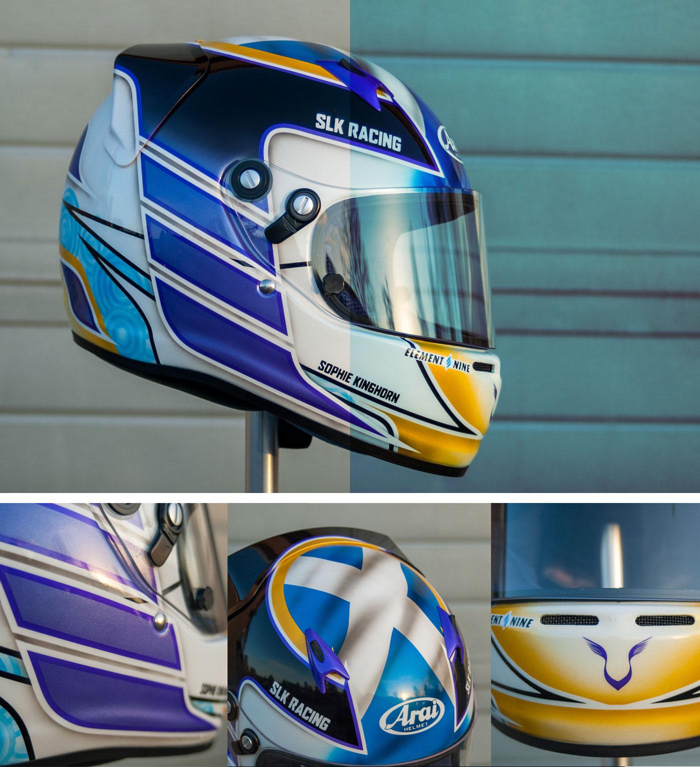 sophie kinghorn's element 9 graphics custom painted arai ck6 karting helmet